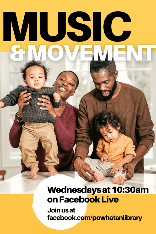 Music and Movement Storytime, Wednesdays at 10:30am on Facebook Live